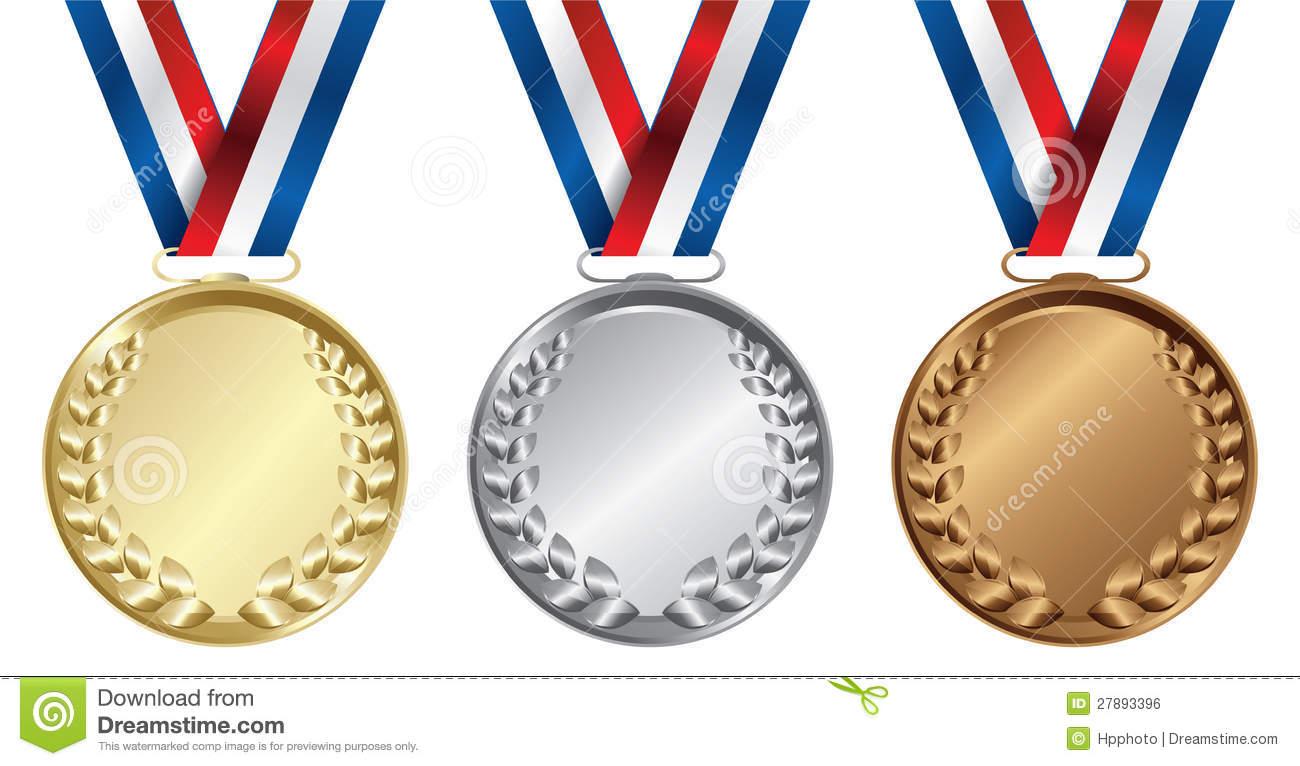 Gold silver bronze medal clip art.