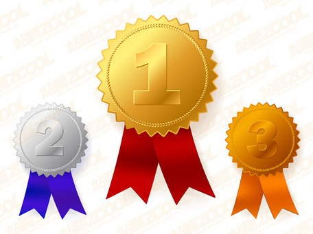Gold, silver bronze medals, Clipart.