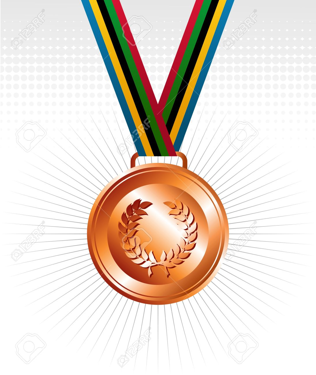 Sports Competition Bronze Medal With Ribbon Elements Set.