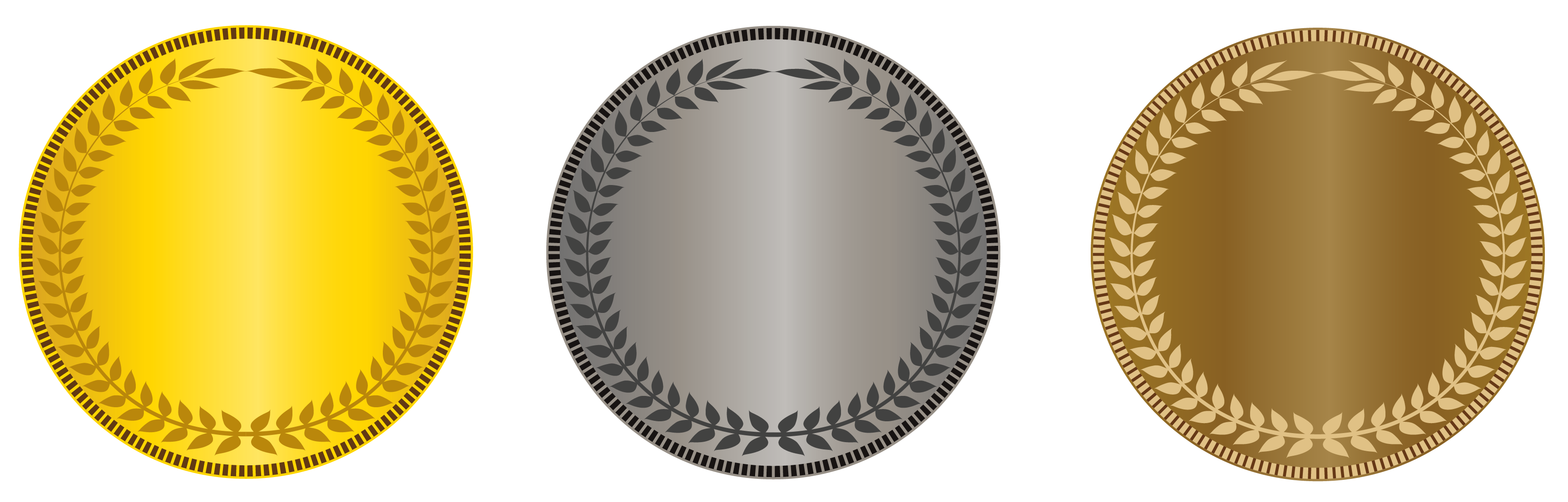 Gold silver bronze medal clipart.