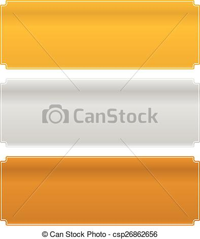 Clipart Vector of Gold, silver and bronze metal plaques.