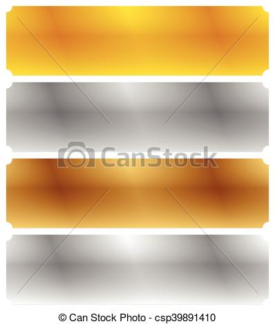 Vector Clip Art of Gold, silver, bronze and platinum banners with.