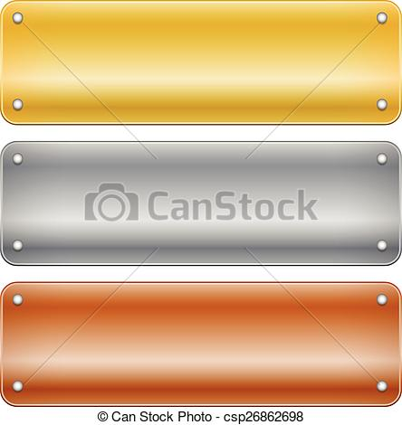 EPS Vectors of Gold, silver and bronze metal plaques, plaquettes.