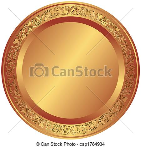 Stock Illustration of Bronze relief ornament in memorial shape.