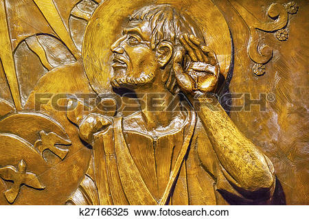 Stock Image of Bronze Relief of Juan Diego Guadalupe Shrine Mexico.