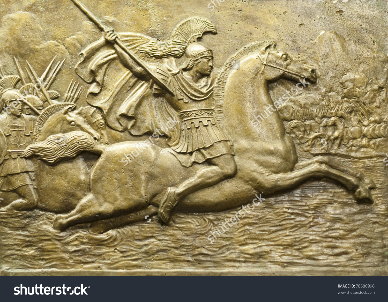 Bronze Relief Depicting Alexander Great His Stock Photo 78586996.