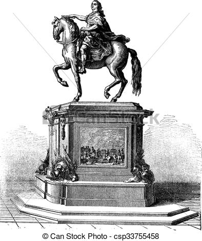 Clipart Vector of Bronze Statue of King Louis XV of France.