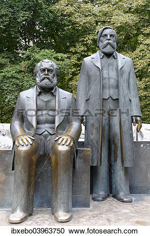 "Stock Photography of ""Bronze statues of Karl Marx and Friedrich."