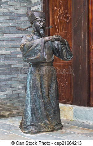 Stock Photography of Bronze Statues in Guilin China.