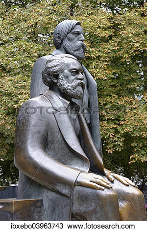 """Stock Photo of """"Bronze statues of Karl Marx and Friedrich Engels."""