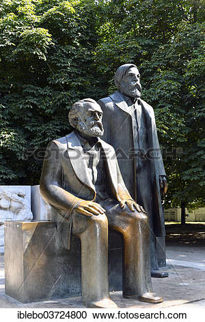 """Stock Photography of """"Bronze statues of Karl Marx and Friedrich."""