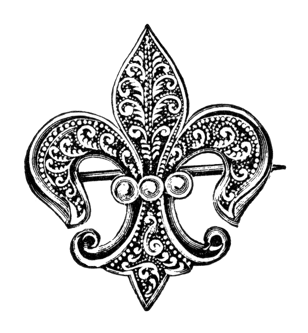 Vintage Brooch Clipart Fleur De Lis Clip Art Antique Brooch With.