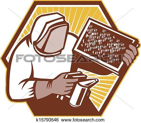 Clip Art of Beekeeper Apiarist Holding Beer Brood Retro k15793546.