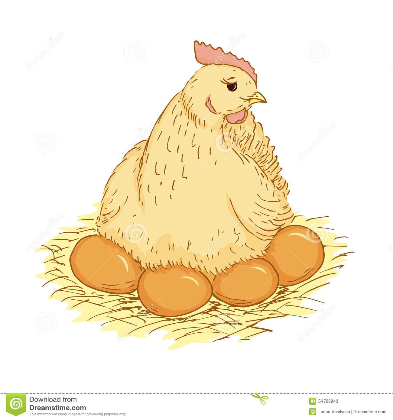Hen Sitting On Eggs Clipart.