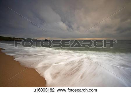 Stock Photo of England, Devon, Thurlestone. Brooding storm clouds.