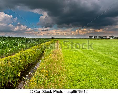 Stock Photo of brooding summer sky above dutch agricultural.