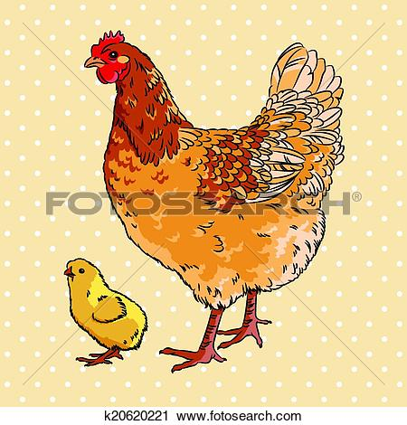 Clipart of Realistic broody chicken and baby chick side view.