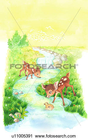 Clipart of Animal, Watercolor painting of two deer playing along.