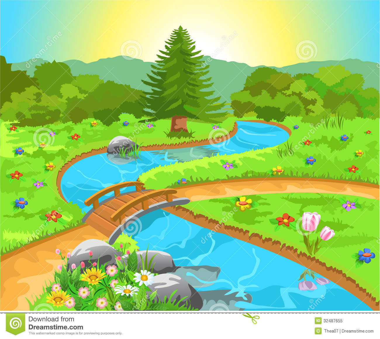 Brook water clipart.