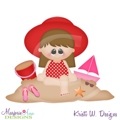 Brooke At The Beach SVG Cutting Files Includes Clipart.