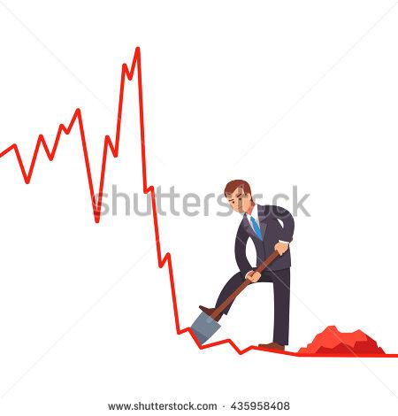 Businessman Broker Trying To Gain Short Profits On Falling Market.