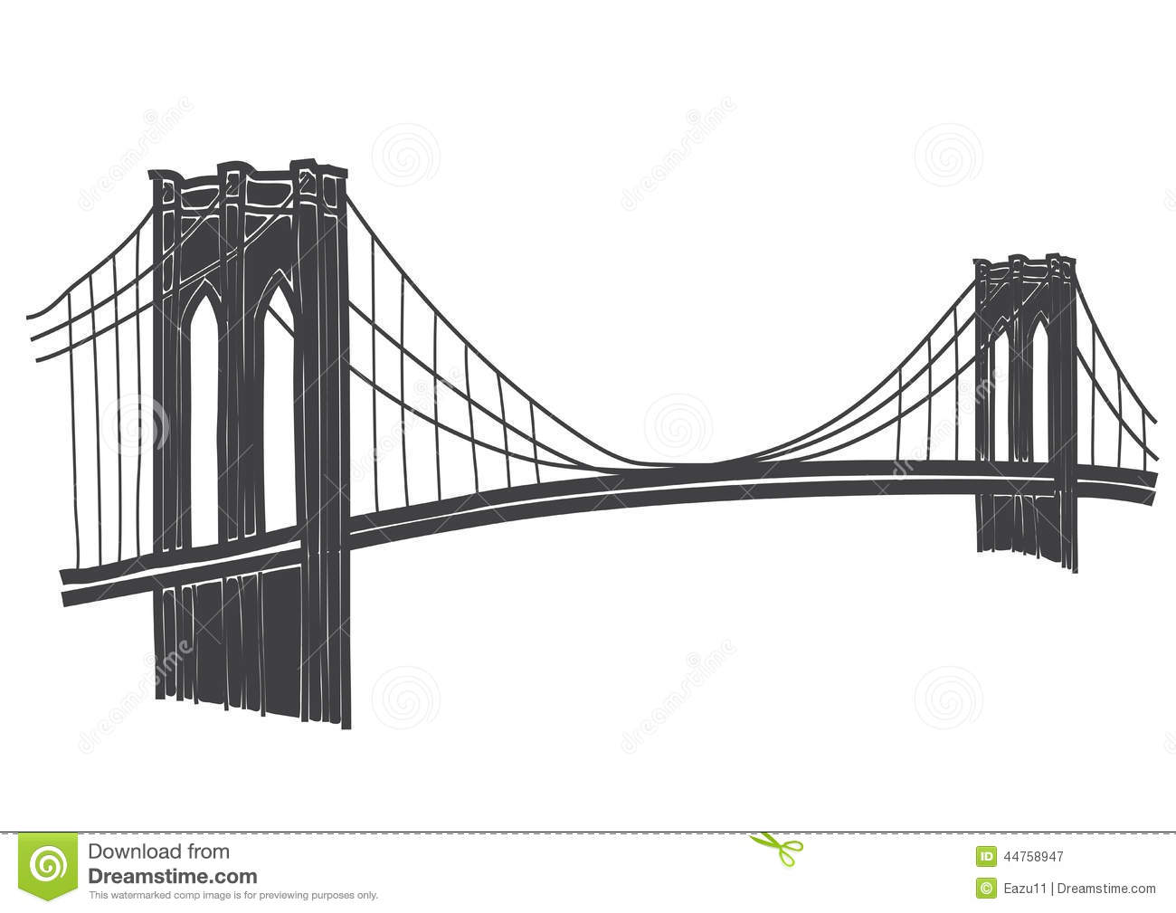 New York Panorama With Brooklyn Bridge Stock Vector.
