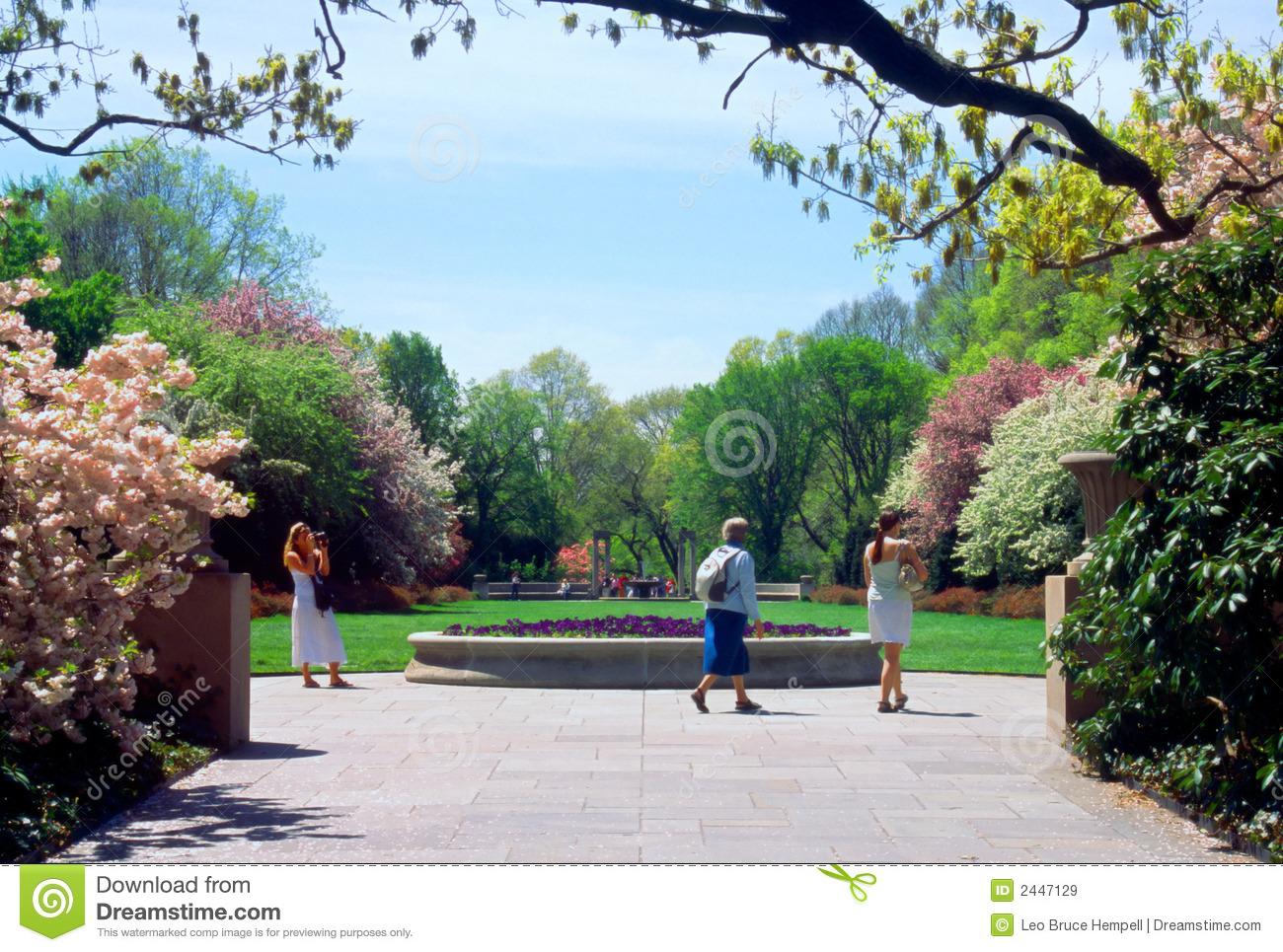 Tourists Brooklyn Botanic Garden New York USA Royalty Free Stock.