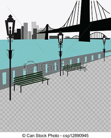 EPS Vector of Brooklyn bridge and new york skyline csp12890945.