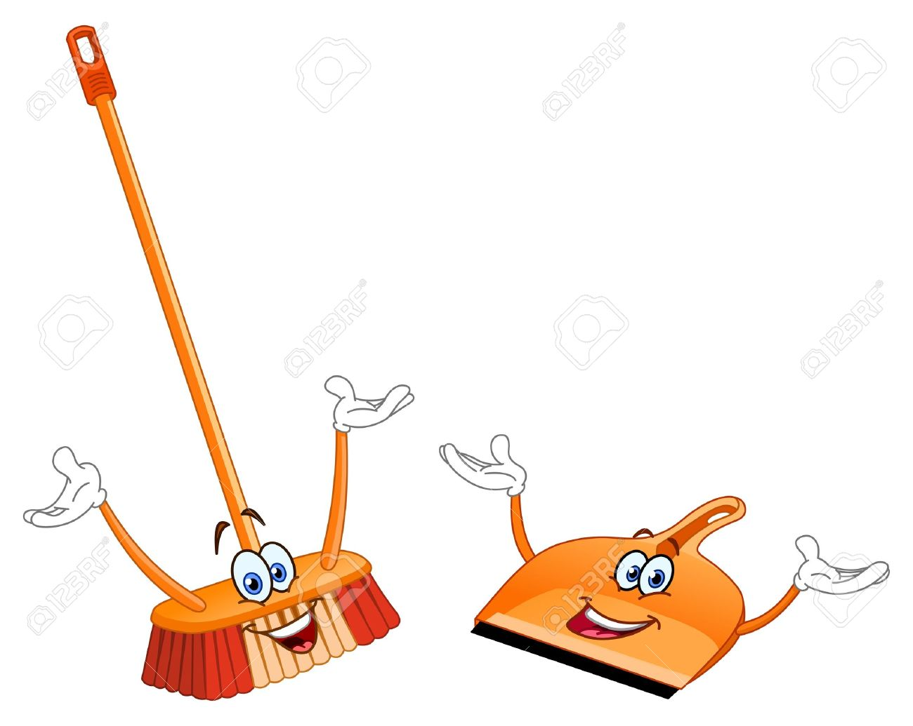 Broom and dustpan cartoon.