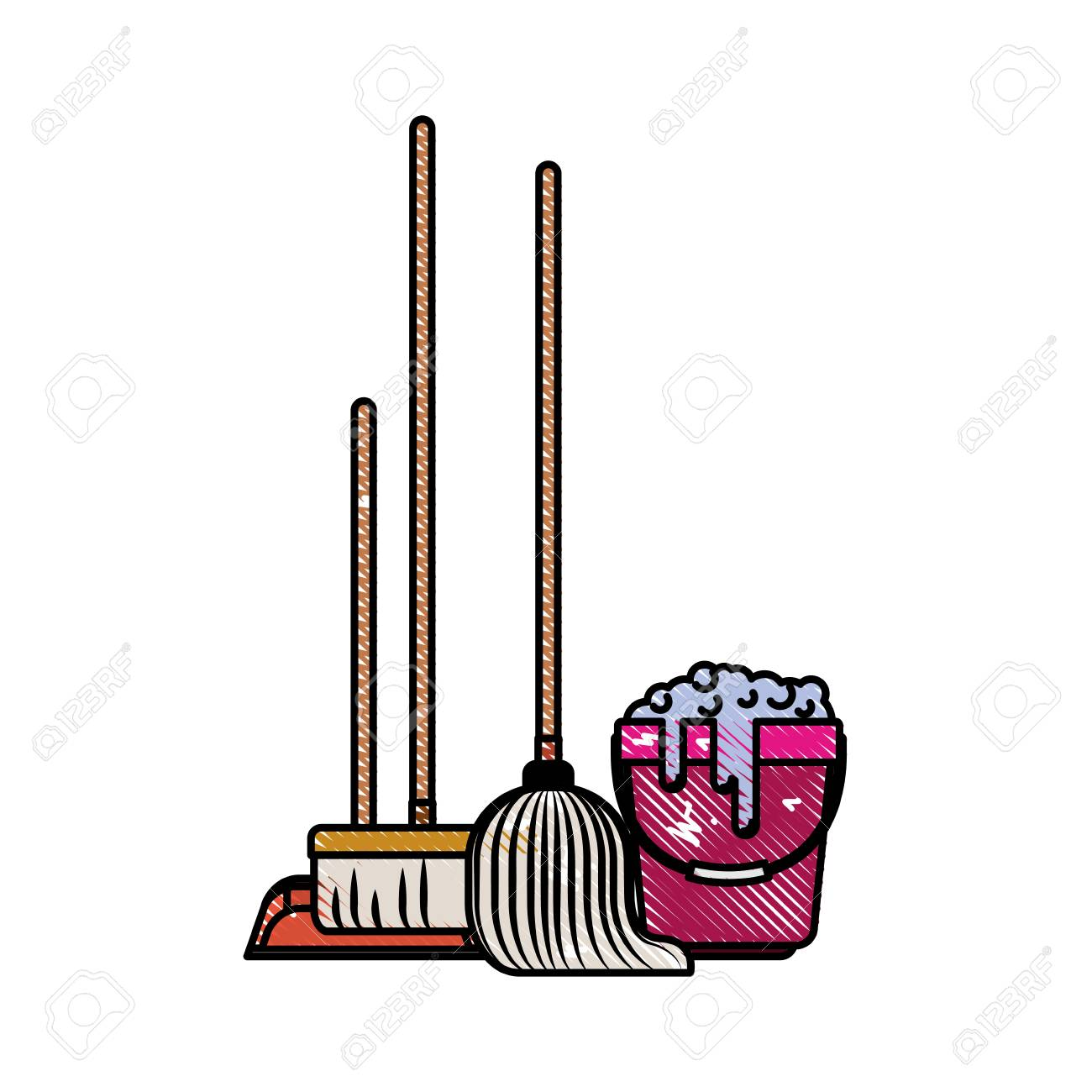dustpan and broom and mop and bucket with water and soap detergent...