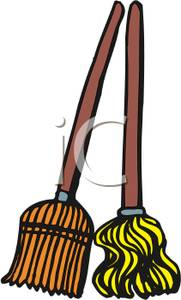 Mop and broom clipart.
