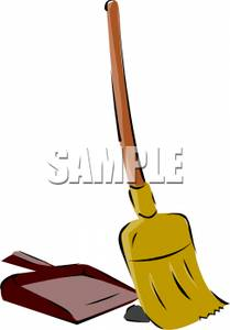Broom and a Dustpan Clip Art Image.