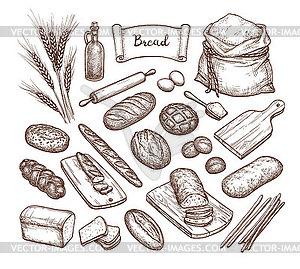 Brot und Zutaten.