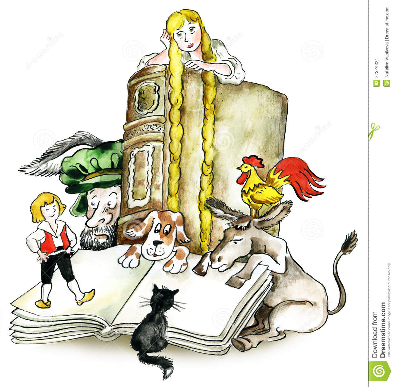 Brothers Grimm Books Characters Stock Images.