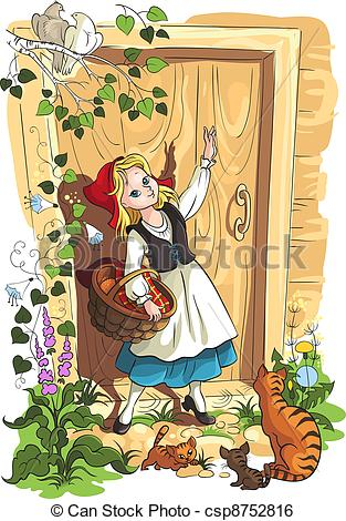 Clip Art Vector of Little Red Riding Hood.