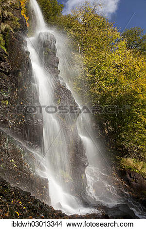 "Stock Photo of ""Waterfall in an autumnal landscape in Trusetal."