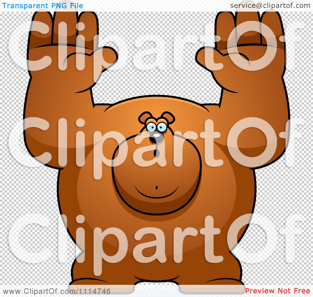 Clipart Buff Bear Holding His Hands Up.