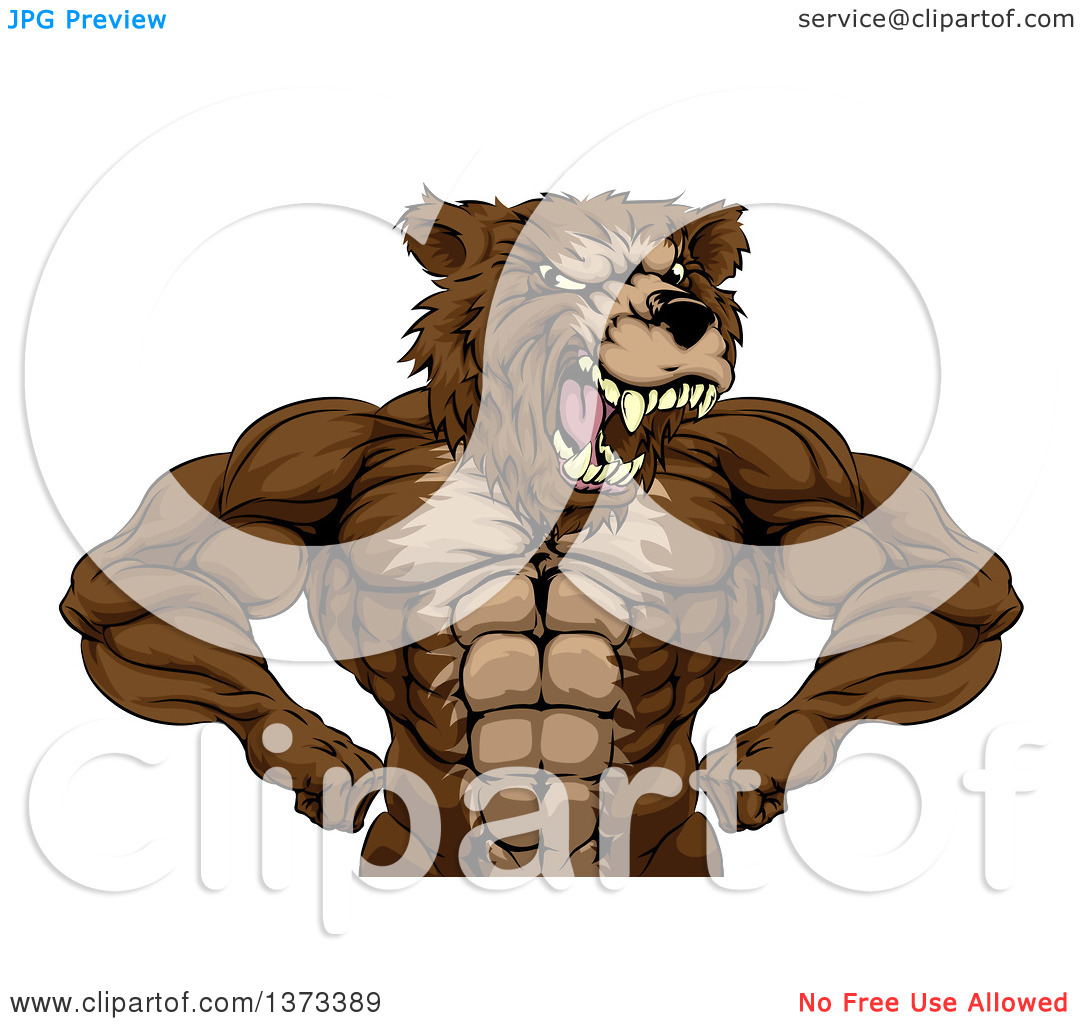 Clipart of a Fierce Buff Muscular Grizzly Bear Man Flexing His.