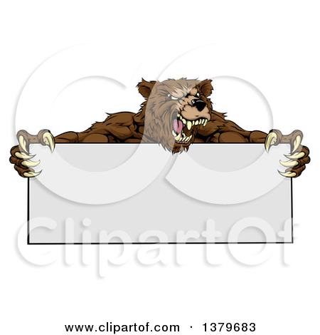 Clipart of a Fierce Buff Muscular Grizzly Bear Man Holding a Blank.