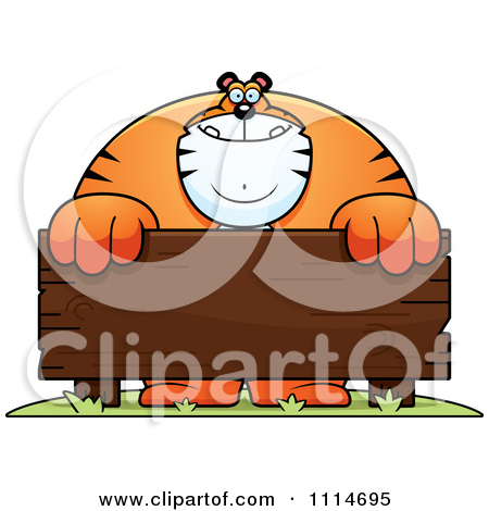 Clipart Buff Tiger Behind A Wooden Sign.