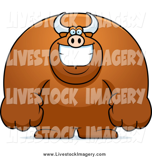 Clip Art of a Happy Buff Brown Bull Smiling by Cory Thoman.