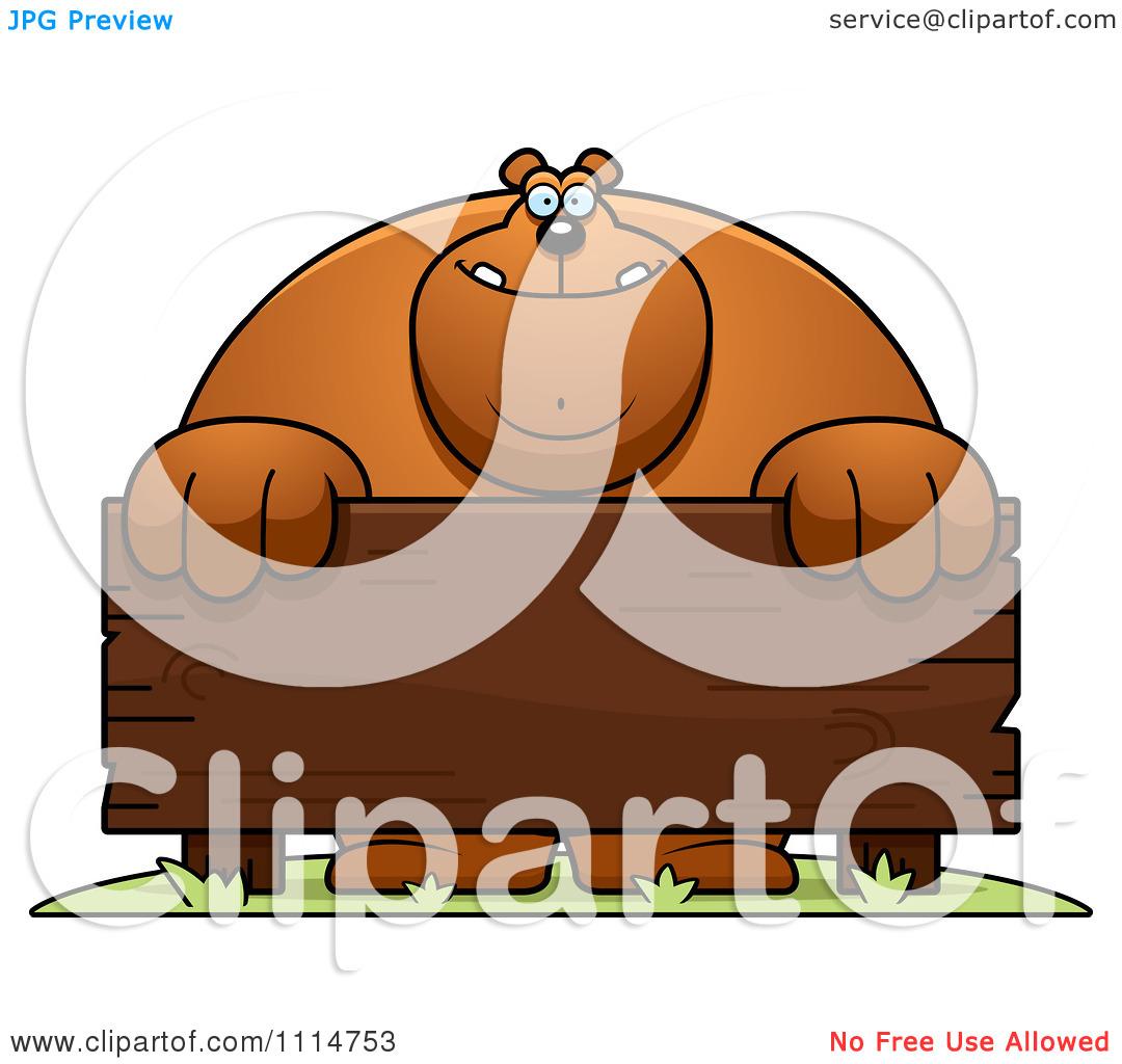 Clipart Buff Bear Behind A Wooden Sign.