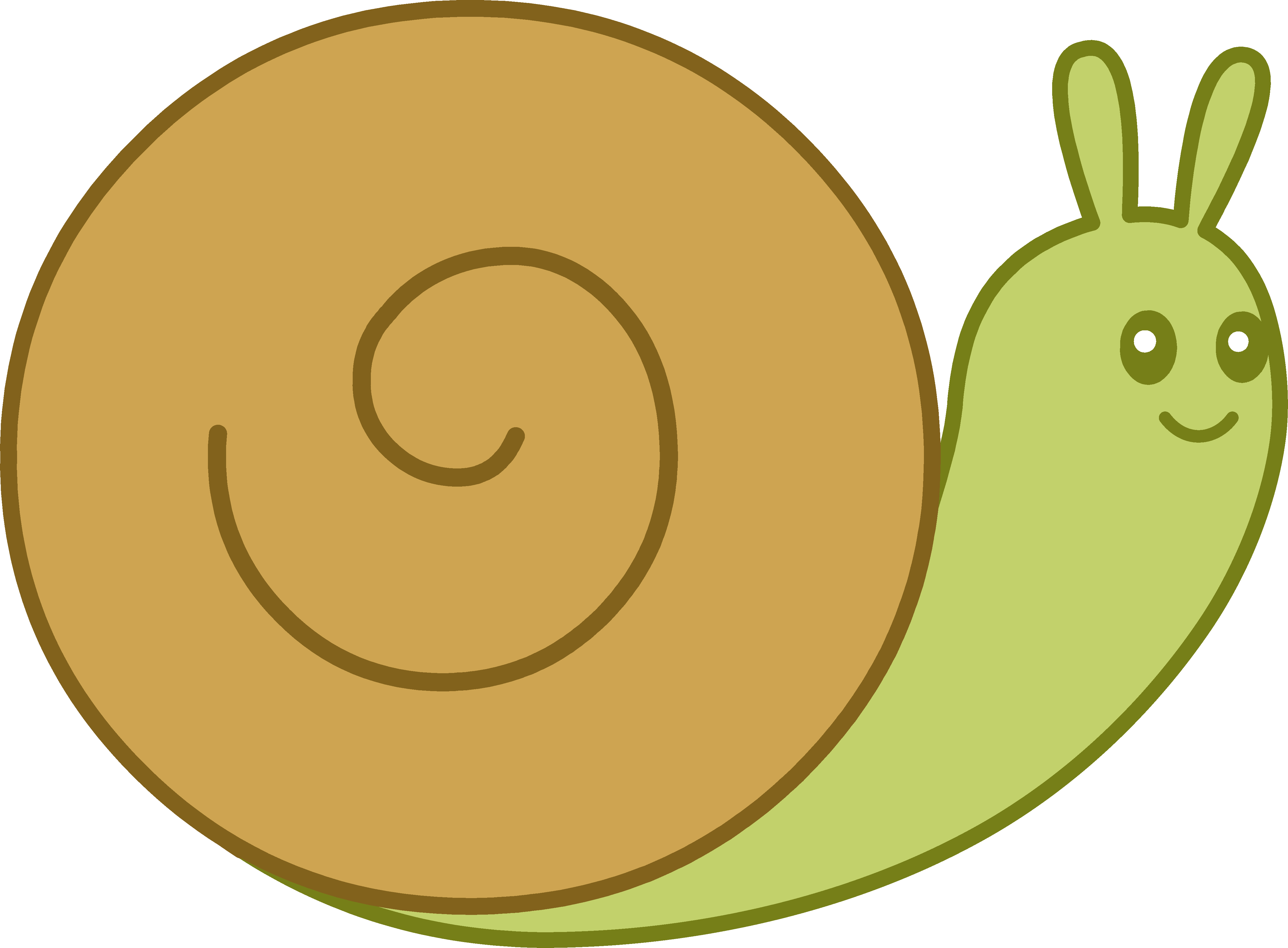 Cute Brown and Green Snail.