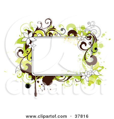 Clipart Illustration of a Corner Of Green And Brown Grunge And.