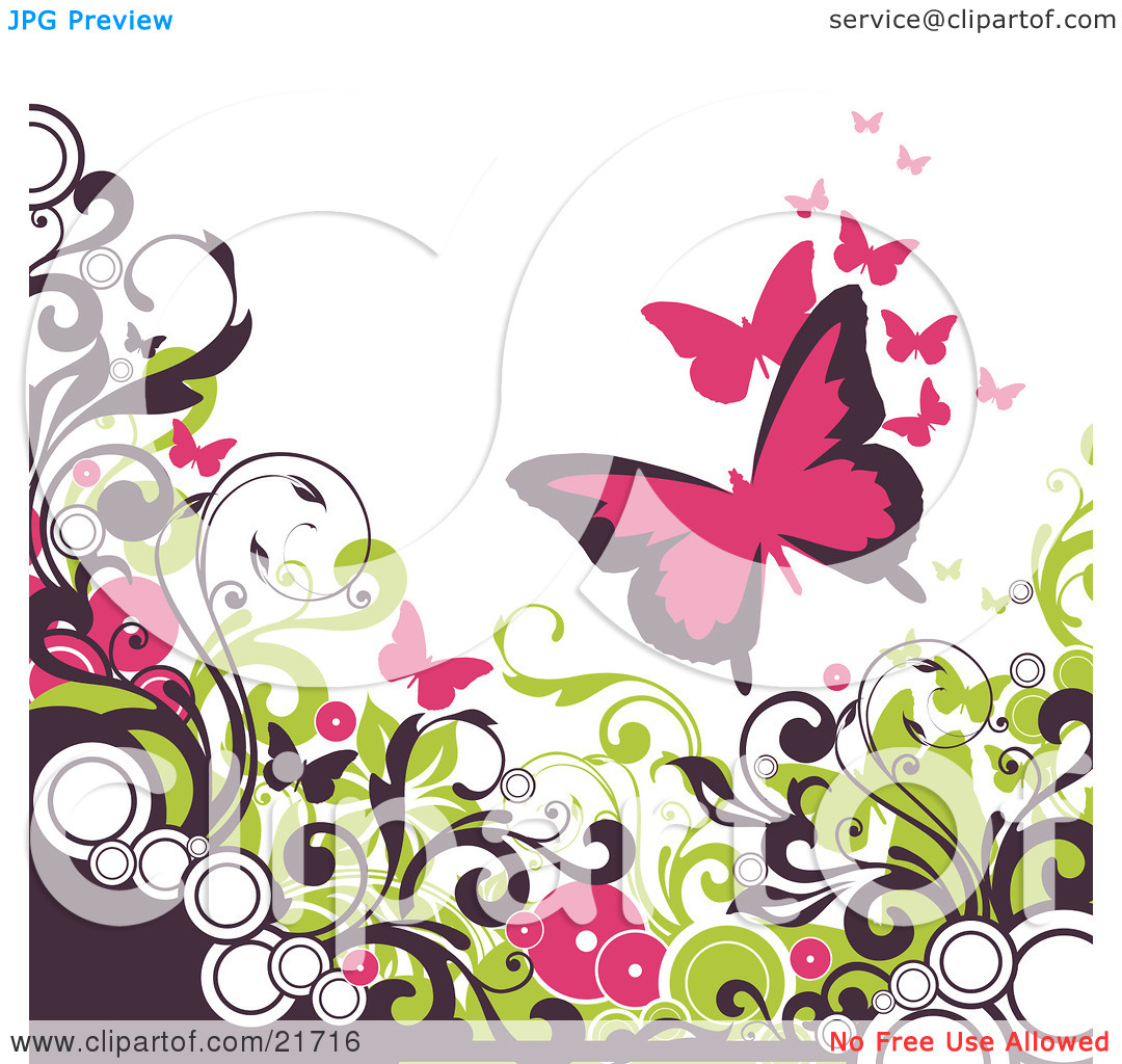 Nature Clipart Picture Illustration of Pink Butterflies Fluttering.
