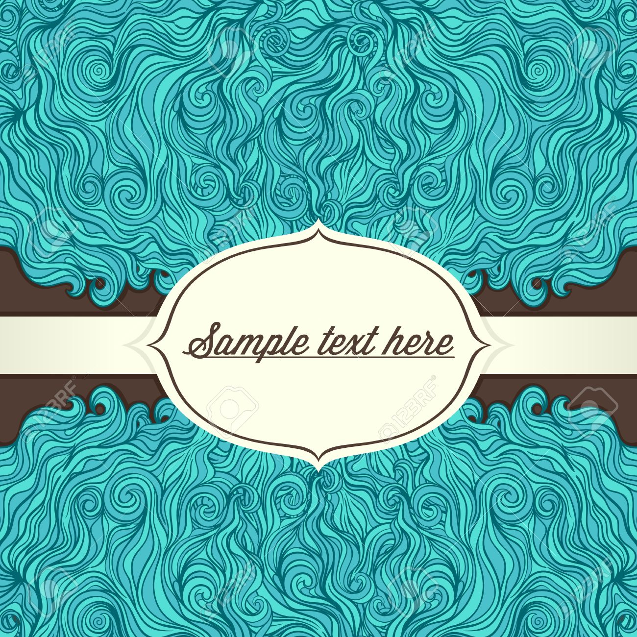 Turquoise Frame With Place For Text Pattern On Brown Background.