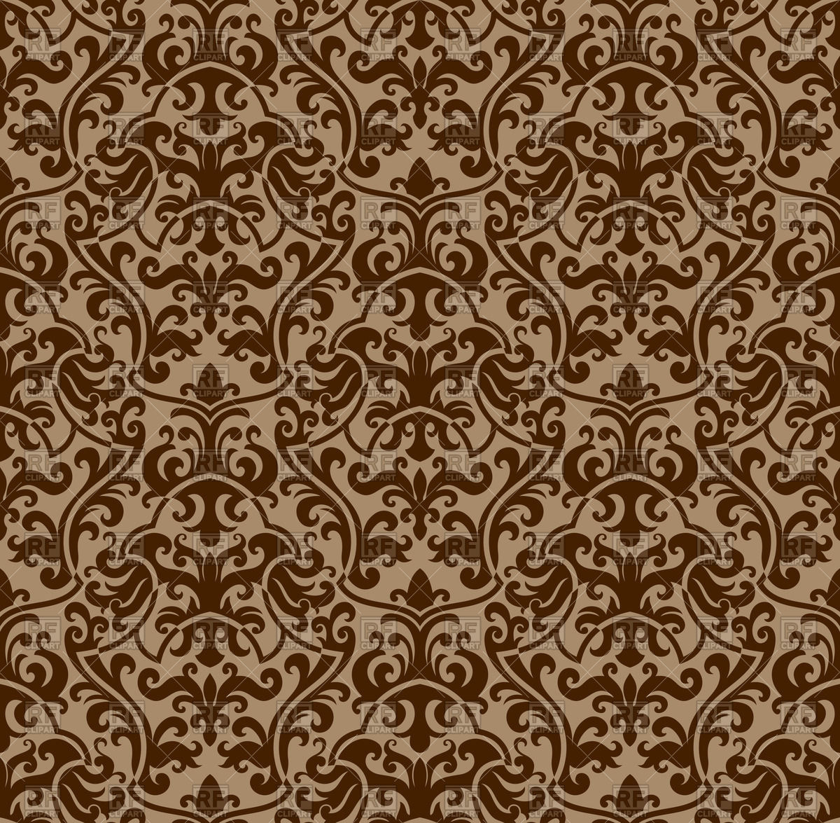 Seamless brown damask background Vector Image #65570.