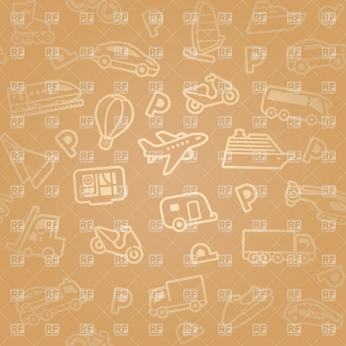 Seamless brown background transport icons Vector Image #18006.