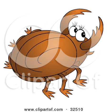 Clipart Illustration of a Happy Brown, White And Yellow Beetle by.
