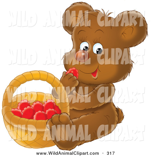 Clip Art of a Hungry Brown Bear Cub Sitting down and Eating Red.